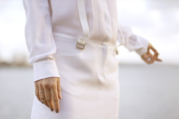 dion lee, white dress, drop waist, tiny stacked rings, sydney fashion blog