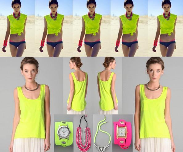 neon top, neon watch, neon necklace, noir jewelry, fashion trend, sydney fashion blog