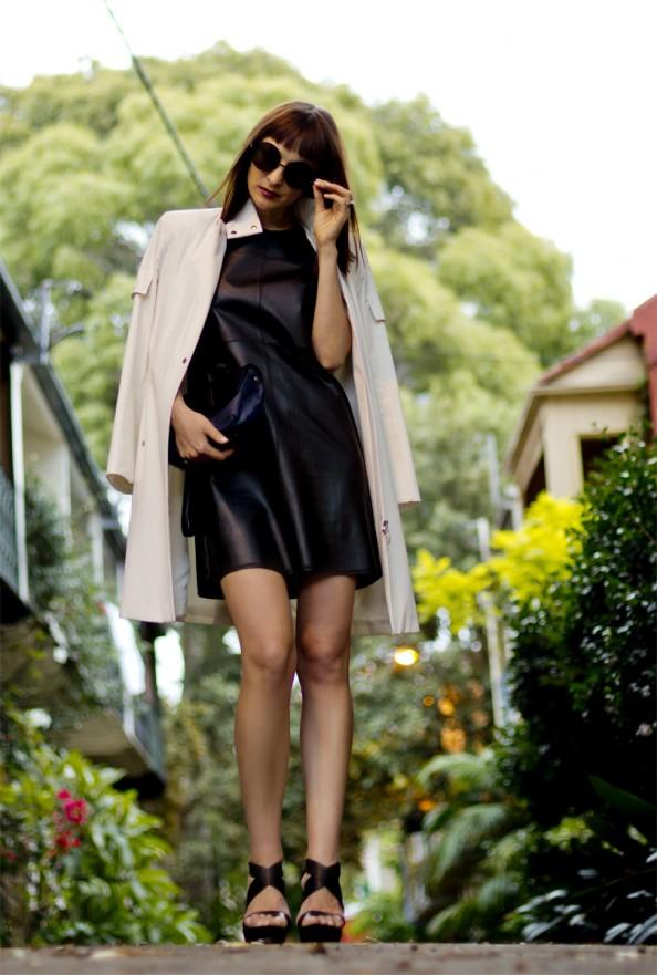 Black leather dress, Witchery, white coat, karen walker sunglasses, elegant chic style, autumn style