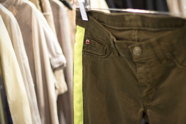 hudson denim, knits, tuxedo jeans with neon stripe