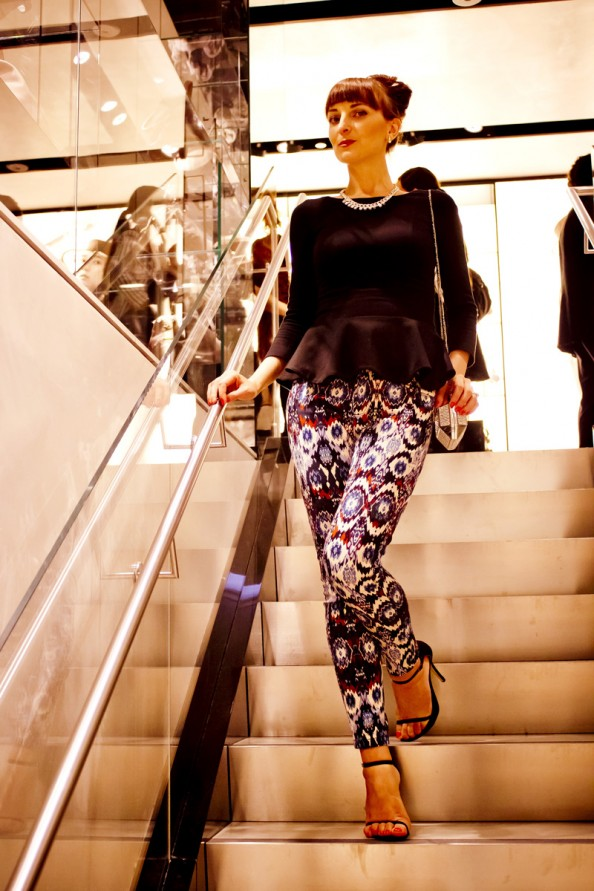 peplum top, printed pants, what to wear for a night out