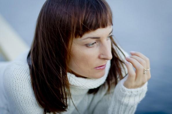 winter fashion trend, white on white, oversized knit with high turtle neck, short bang, Australian fashion blog