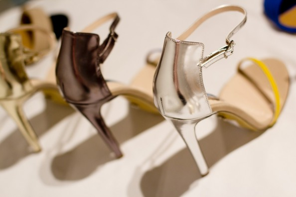 ankle strap heels karissa in silver and gold
