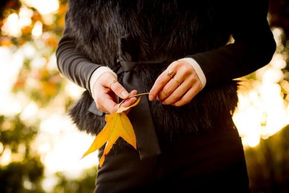 black fur jacket autumn yellow leaf