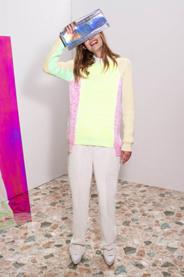 neon knit and holographic clutch