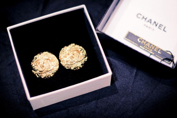 vintage gold chanel earrings