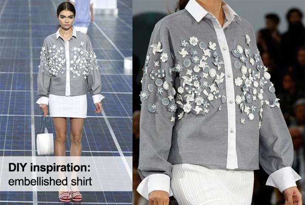 diy inspiration, chanel summer 2013, embellished shirt