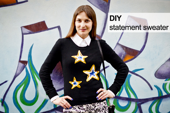 diy statement sweater, refashion top