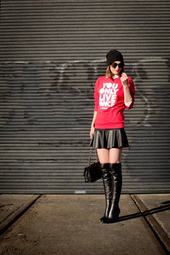 mbfwa street style, leather skirt, long boots