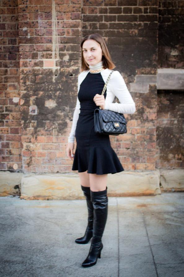 mbfwa street style, witchery flare dress