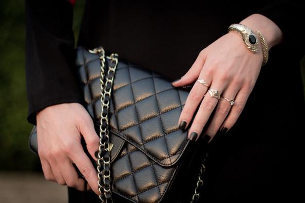 black matte nails, black chanel bag