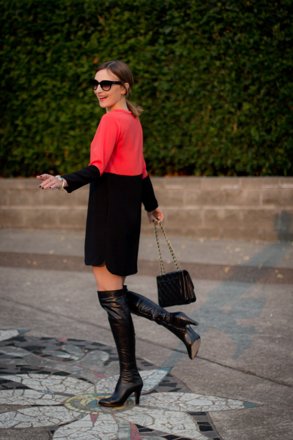 red and black outfit for a dinner out