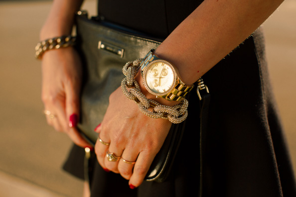 gold bracelets and marc jacobs watch